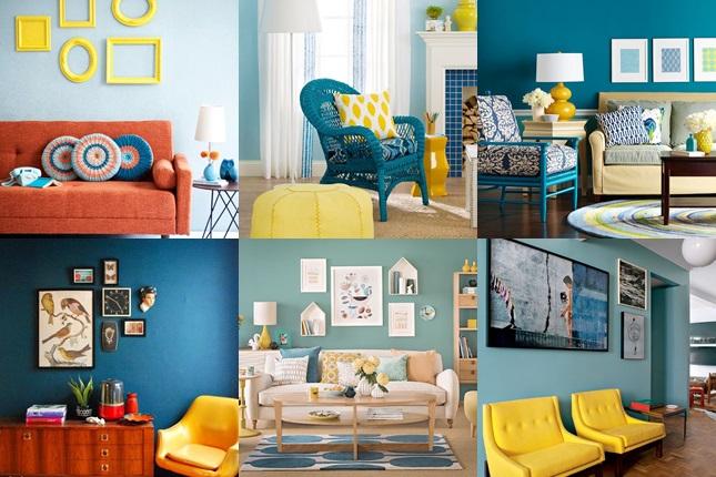 Sala De Estar Cinza Azul E Amarelo ~ Decoração azul e amarelo